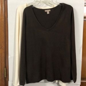 2 for 1 Solid Ivory & Solid Brown Sweaters